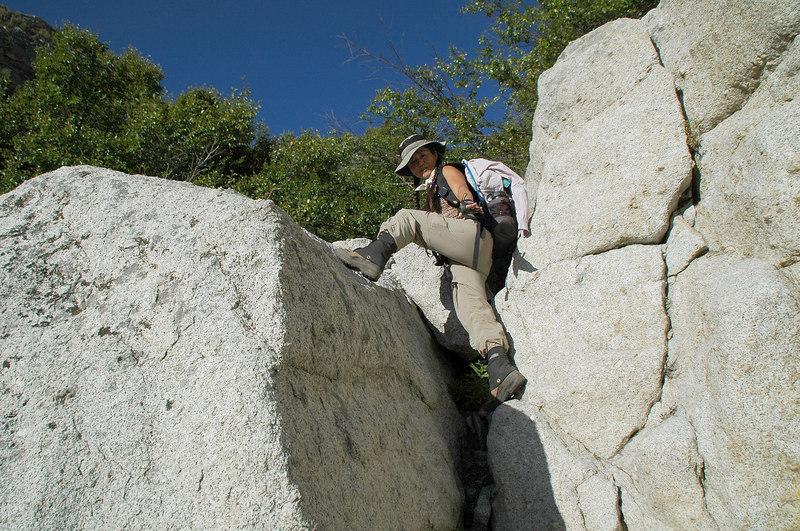 Cori at the top of a short climb.