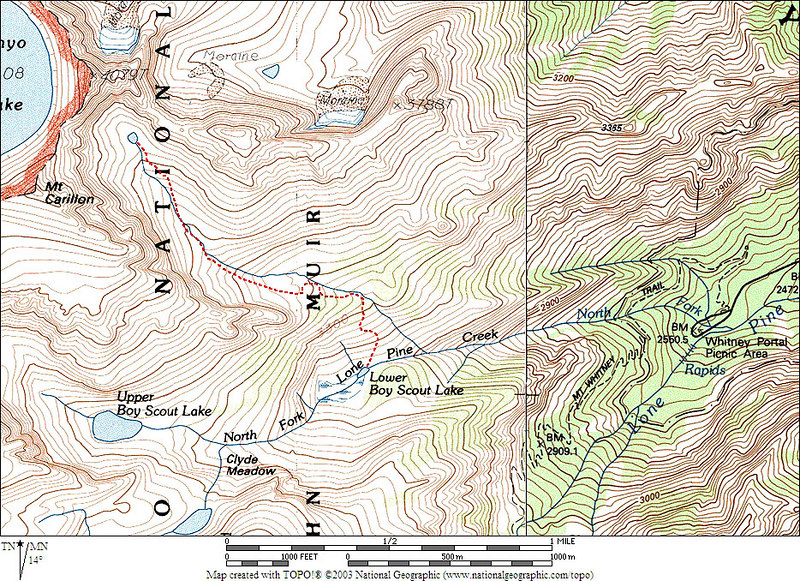 GPS track of the route we took from Lower Boy Scout Lake to the little no name lake.<br /> <br /> THE END