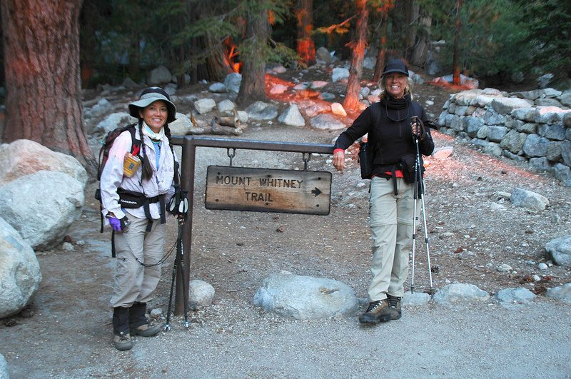 Cori (Snownymph) and Sooz at the Mount Whitney Trailhead at 8,300'. This hike starts off by following the Mt Whitney Mountaineer's Route to Lower Boy Scout Lake.