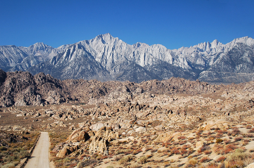 Lone Pine Peak and Mount Whitney from Movie Road in the Alabama Hills. The next morning, Sooz and I drove through the Alabama Hills on the way down to Hwy 395.