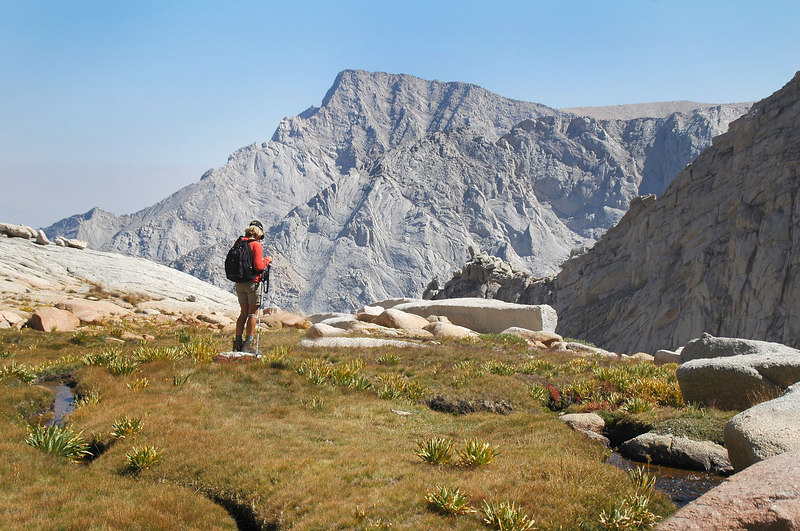 Sooz at the meadow with Lone Pine Peak.