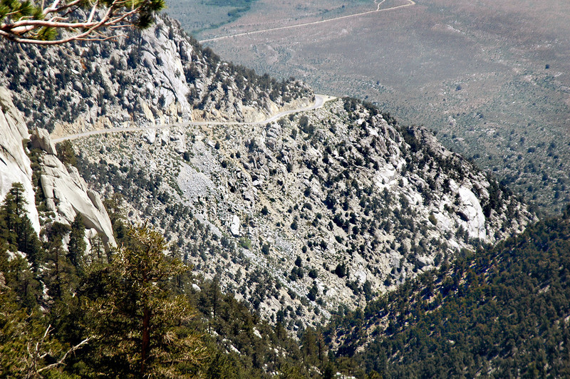 Zoomed in on the Whitney Portal road.