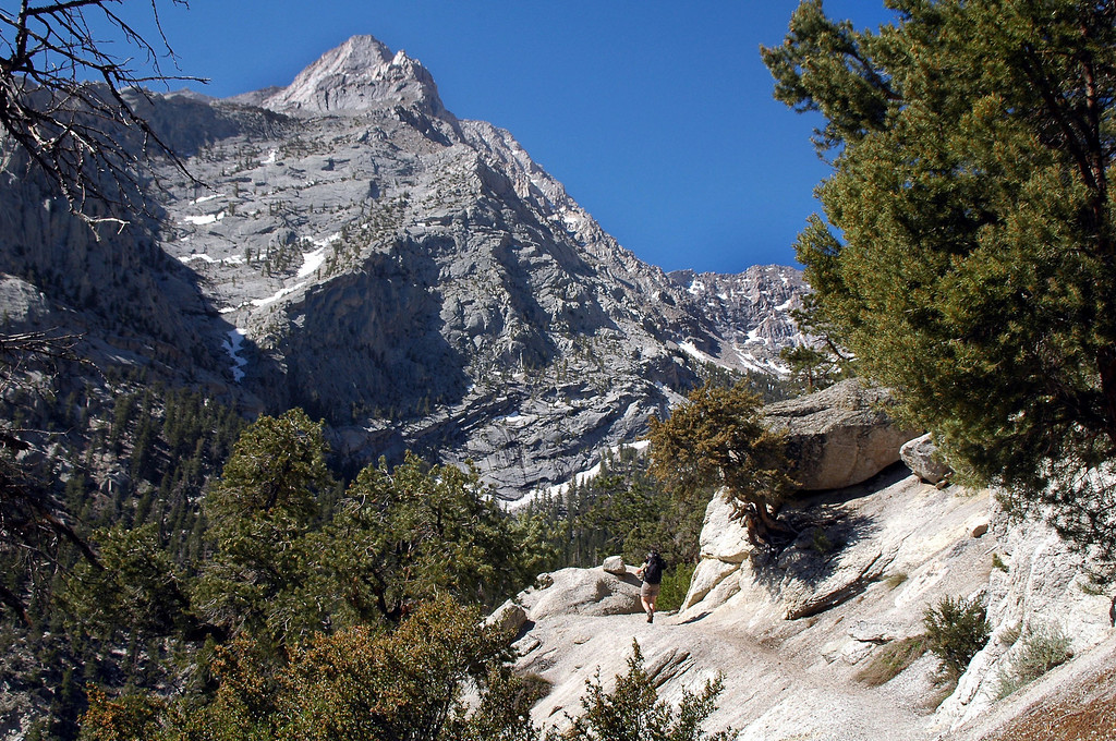 Great view of Lone Pine Peak's north ridge from the lower section of trail.