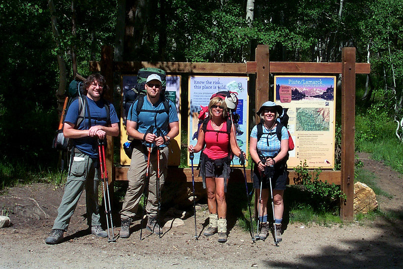 Earnie, Andy, Sooz, Kathy and me behind the camera taking the photo at the Piute/Lamarck trailhead at 9,300 feet.