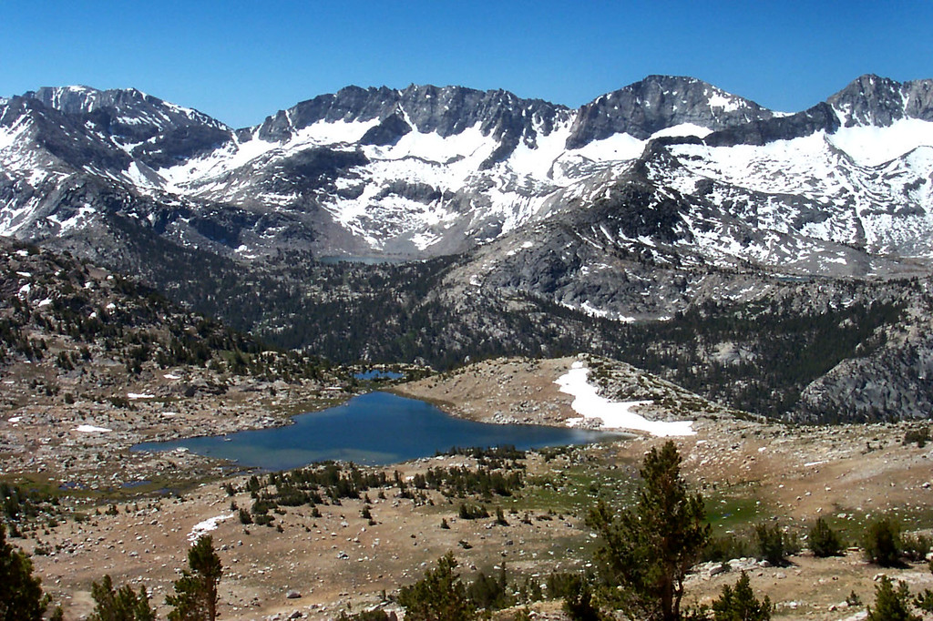 Looking down on Knob Lake as we make our way to the saddle.