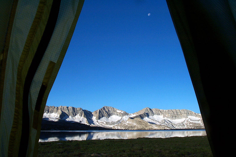 The view of the Glacier Divide and the moon from my tent the next morning.