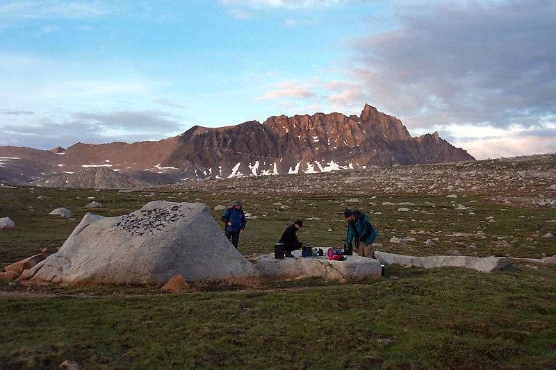 Our campsite had a great area to cook and hang out. Mount Humphreys 13,986 feet is free of clouds now.