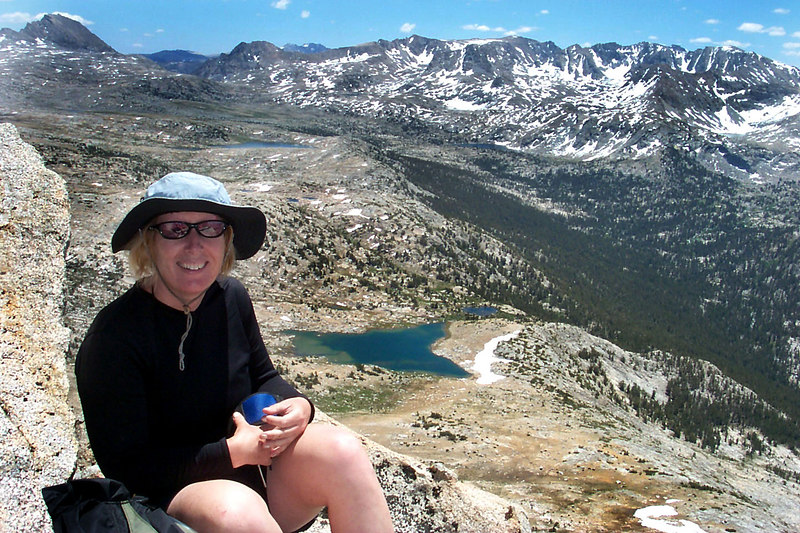 Kathy with Knob Lake below.