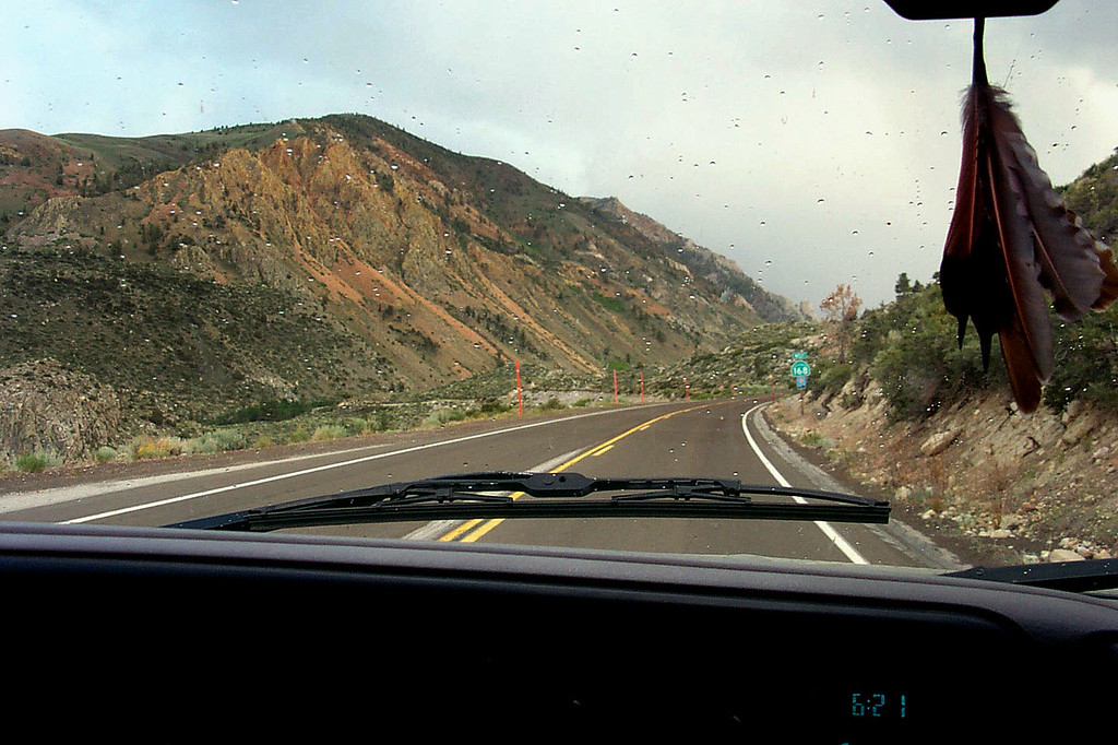 Driving up Hwy 168 out of Bishop to the North Lake parking area, where we will spend the night. Was raining off and on on the way here.