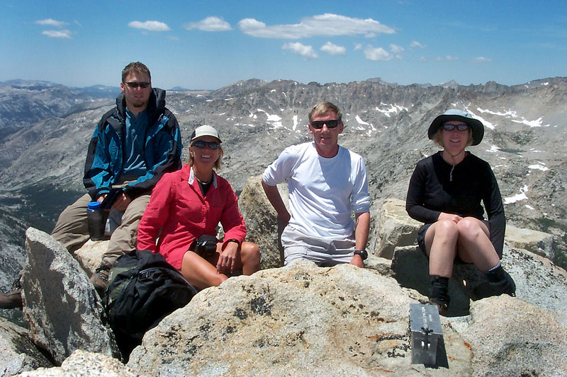 Andy, Sooz, Joe(me) and Kathy on the summit of Pilot Knob at 12,245 feet.