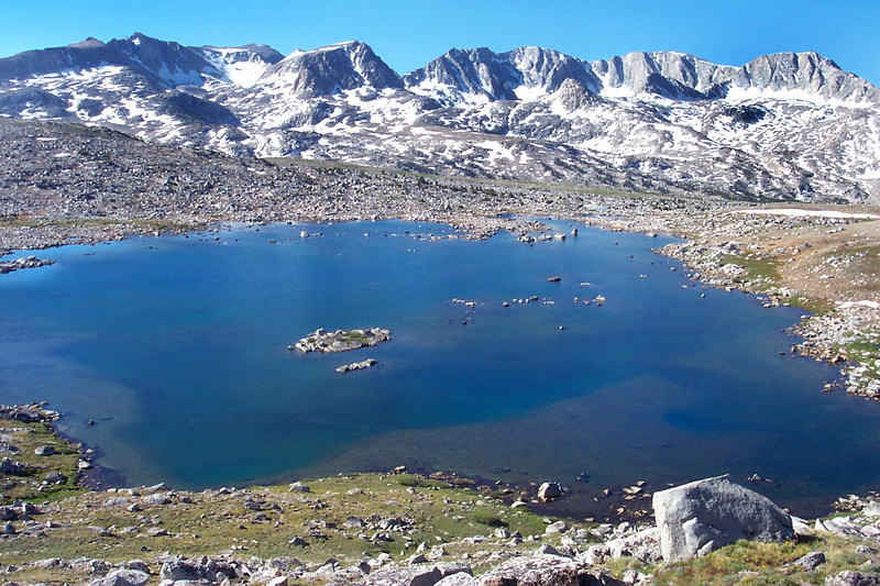 Looking down on Lower Desolation Lake.