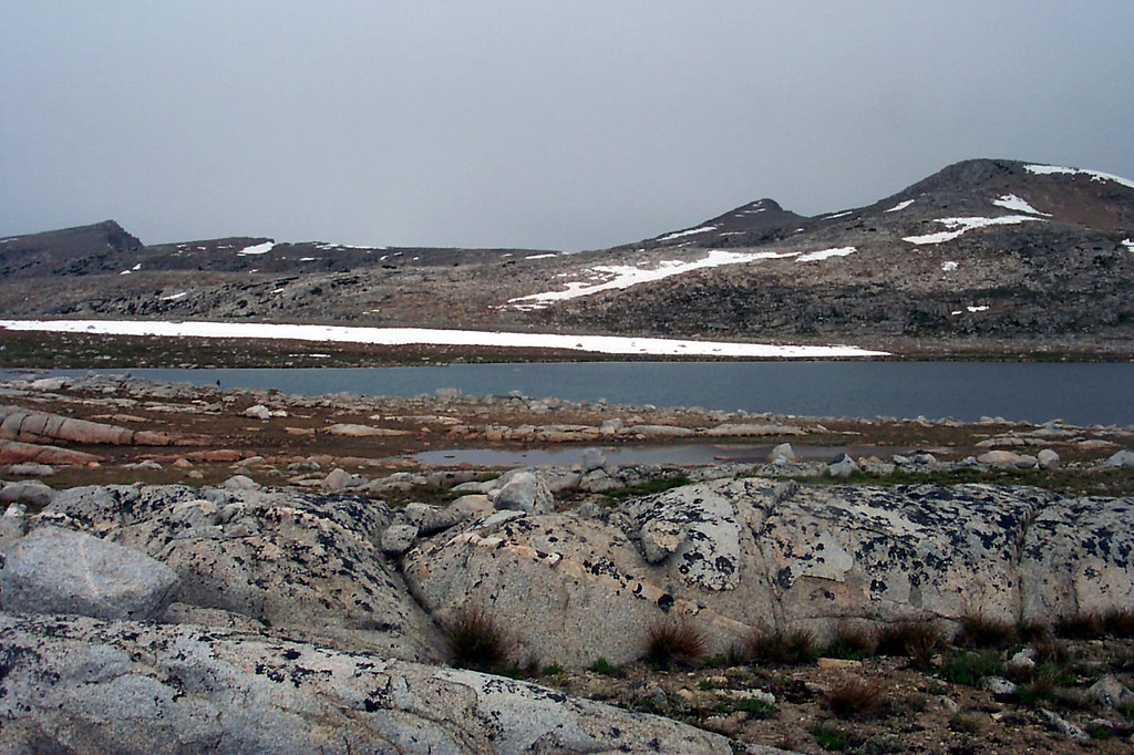 At Desolation Lake at 11,375 feet. The rain stopped when we reached the lake.