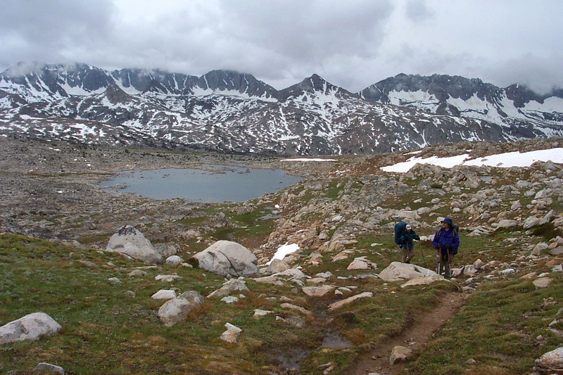 Looking back on Lower Desolation Lake as we hike on.
