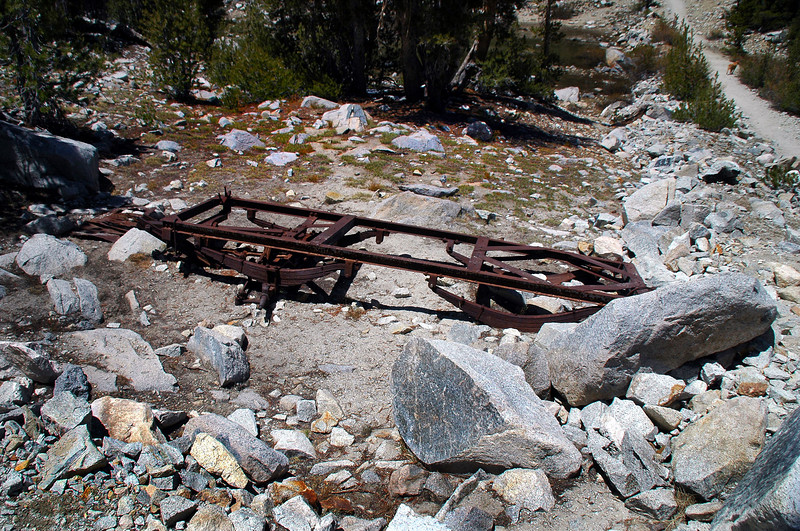 This old truck frame was by the trail, didn't notice it on the way in. Cat said that the trail use to be an old mining road.