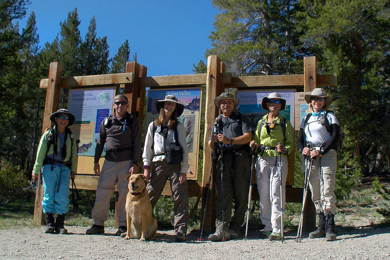 Cori, Joe(me), Cat with her dog Bo, Lewis, Sooz and Norma at the trailhead.