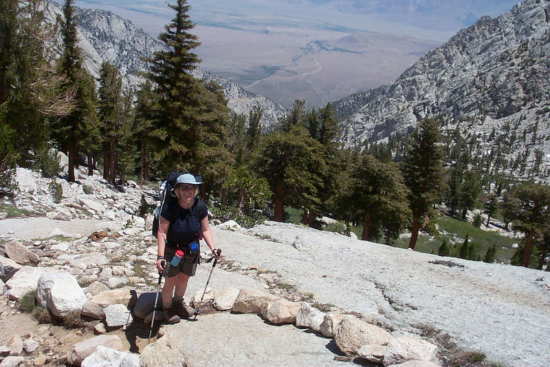 Kathy on the trail. The Meysan Lake Trail is really steep compared to most of the trails in the Sierra.