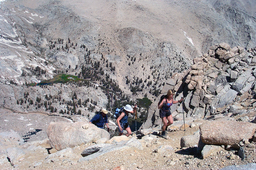 After climbing the chute, we headed up to the ridge that we would follow to the summit.