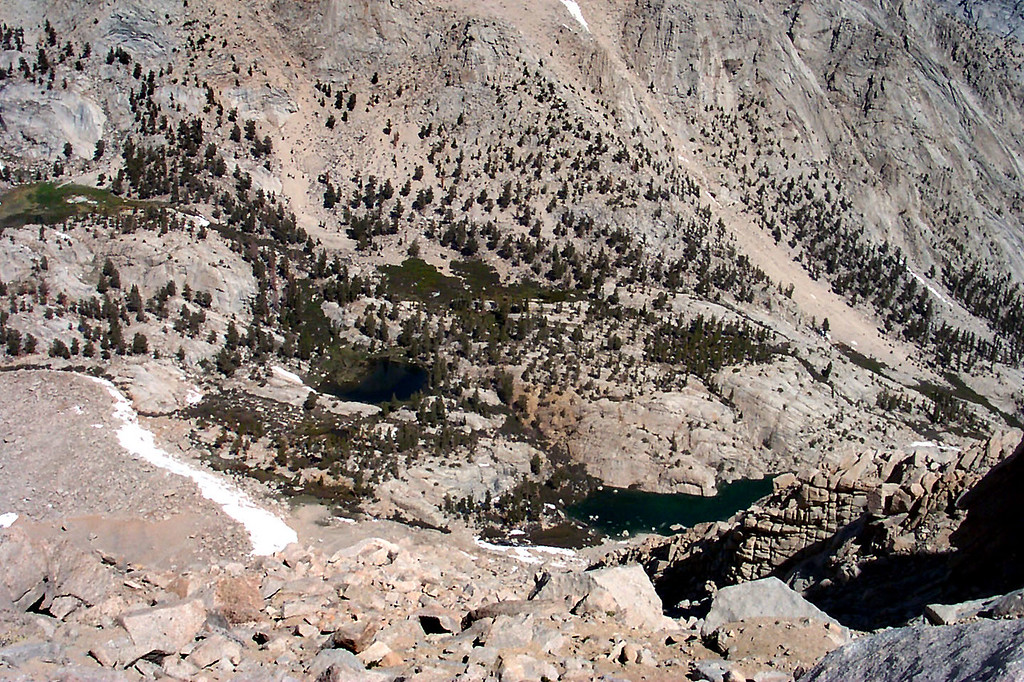 Looking down on Grass and Peanut Lakes from the top of the chute.