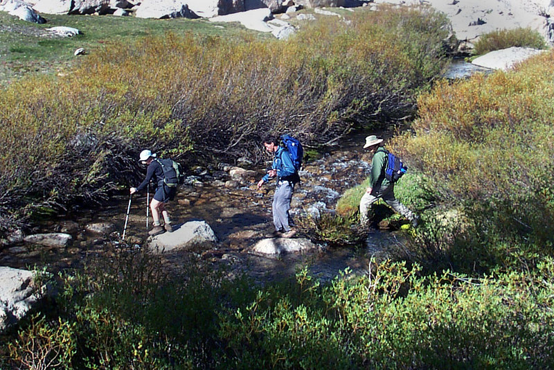 Crossing the stream at the start of the hike. This stream is near camp and was our water supply for the weekend.