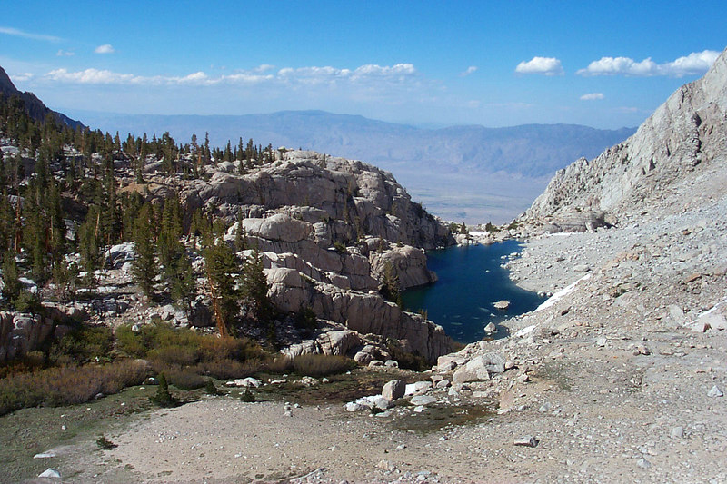 Looking down on Peanut Lake as we start the climb up the chute. Our campsite is in the center , left of photo.