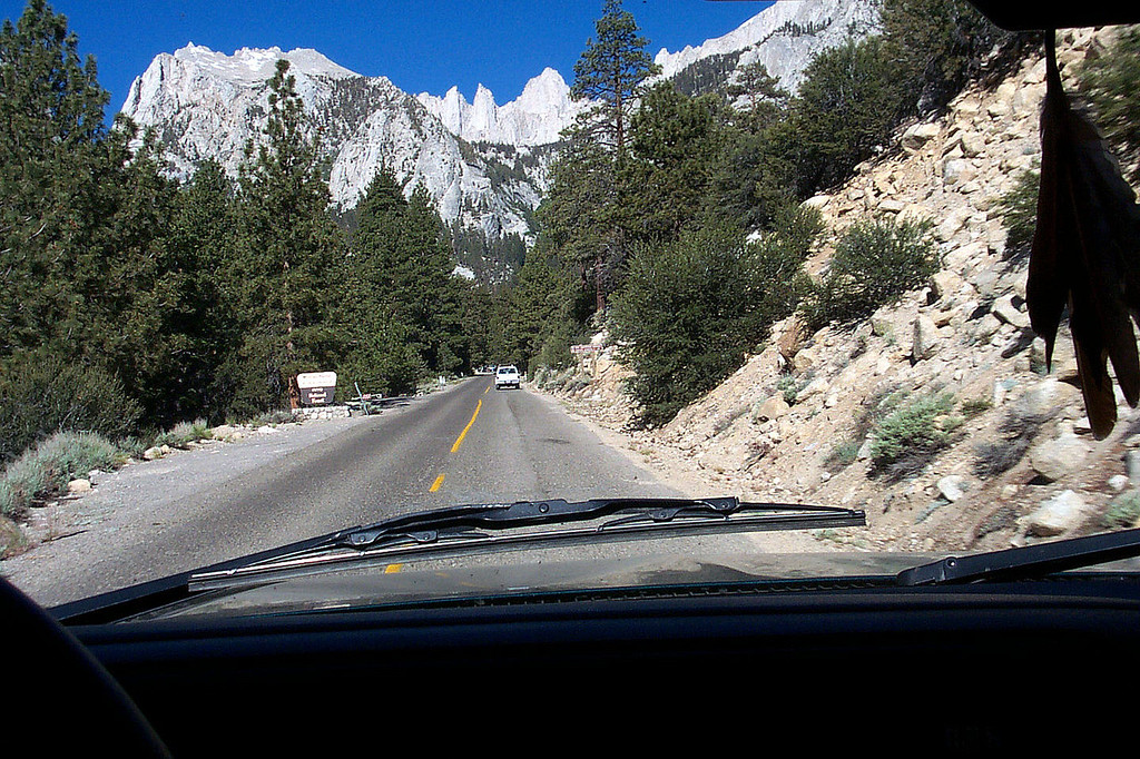 Driving up the Whitney Portal Road on my way to the Meysan Lake Trailhead, the start of our hike. Great view of Mount Whitney from the road.