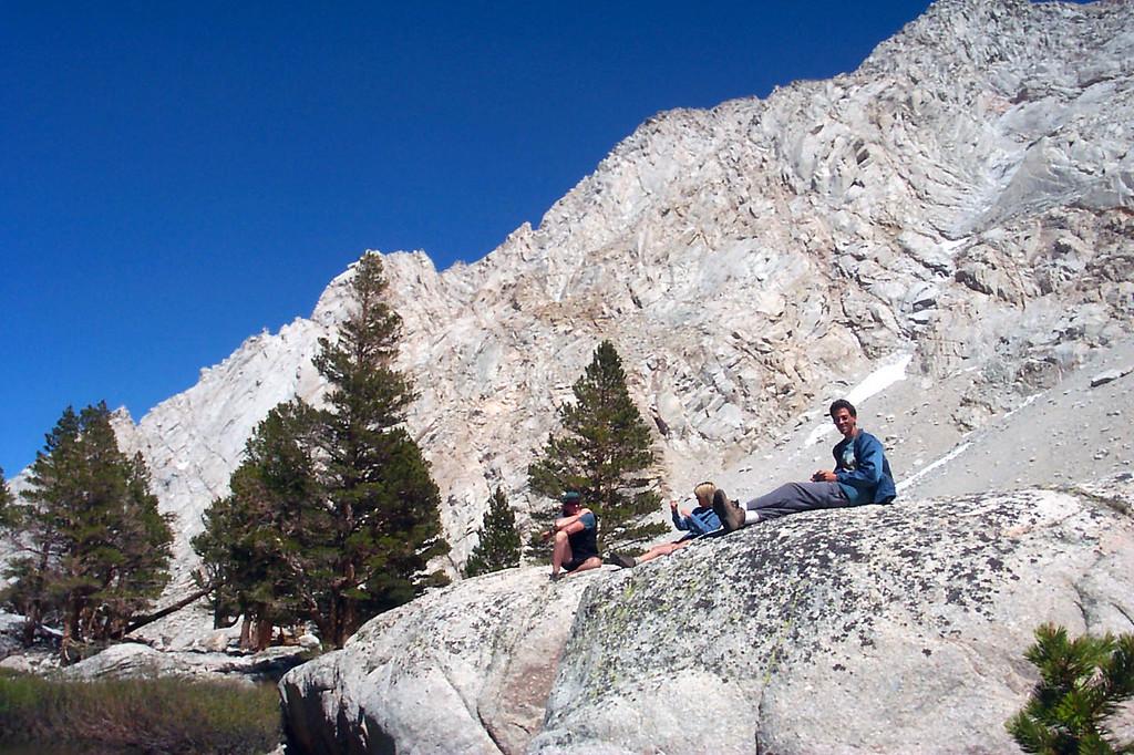 John, Sooz and Jay relaxing at Grass Lake.