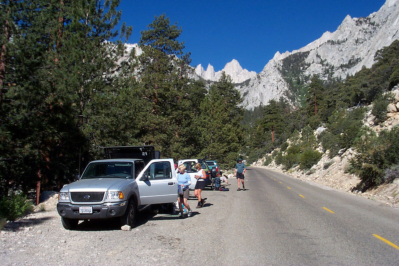 The group at the trailhead getting their stuff together for the hike.