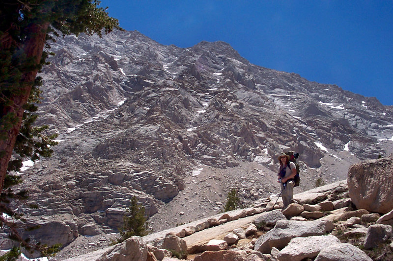Rob with the northwest face of Lone Pine Peak.