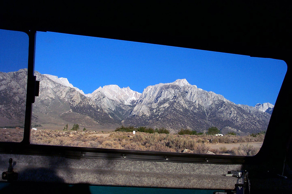 A view of Lone Pine Peak (right) from the back of my truck Friday morning. I spent the night at Tuttle Creek Campground. After getting cleaned up, drove into Lone Pine to meet the rest of the group for breakfast.