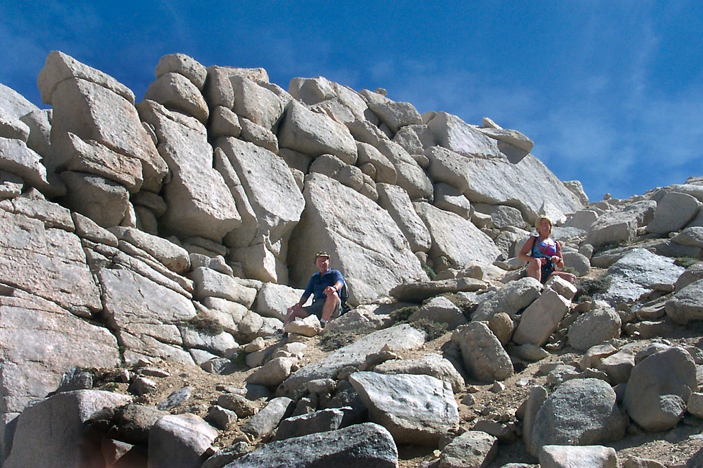 Scot and Sooz taking a breather. Nice looking pile of rocks near the top of the chute.