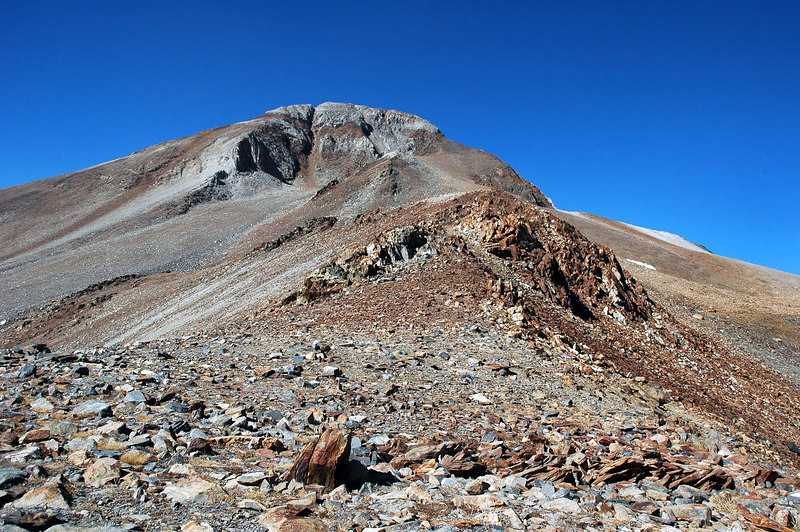 Looking up at Red Slate from the pass. At 13,163 feet, it's only 1,263 feet above. Feeling bummed out at this point. Not enough time to make it and get back to the truck before dark.