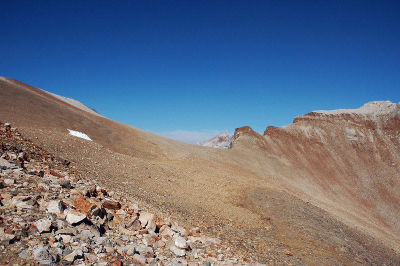 The summit of Mount Baldwin appears above the saddle as I get closer.