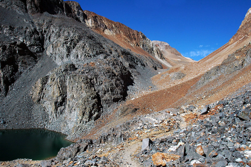 This was my first view of Red State Mountain as I hiked past Little McGee Lake at 11,000 feet.