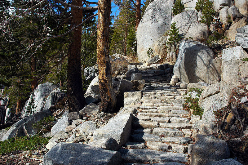 Rock stairs on the trail.