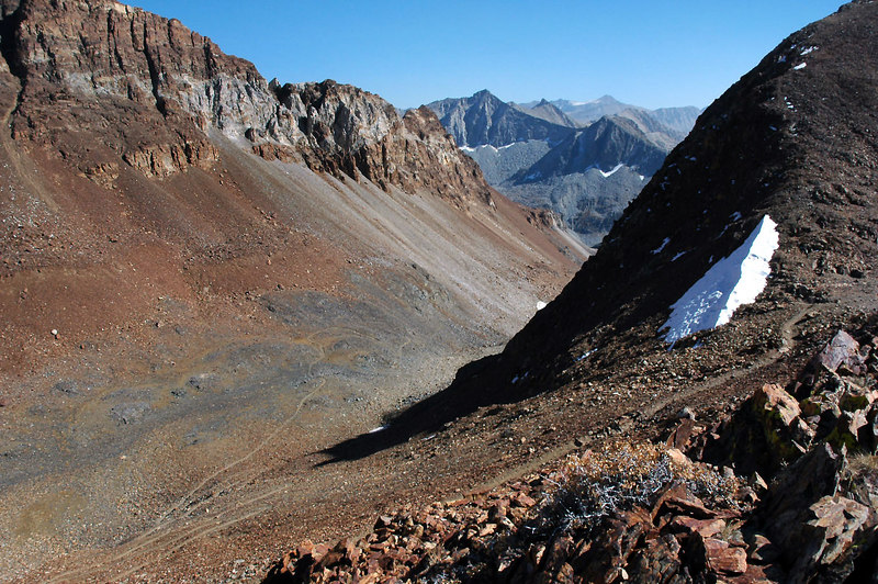 Looking back at the pass and the canyon I hiked up as I make my way to the saddle.