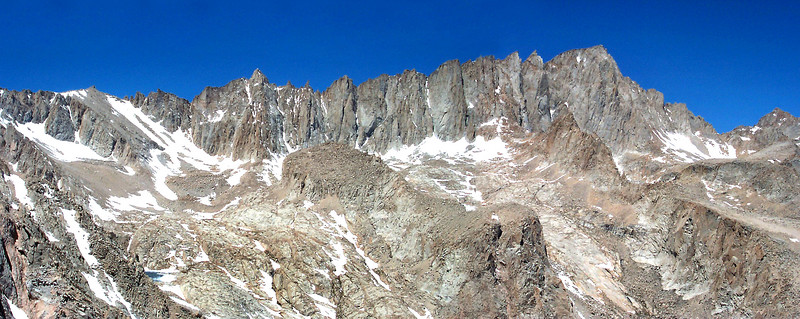 We got a great view of Mount Muir and Mount Whitney. Consultation Lake at lower left.