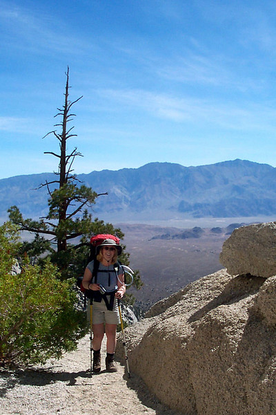 Kathy with the Inyo Mountains across the Owens Valley.