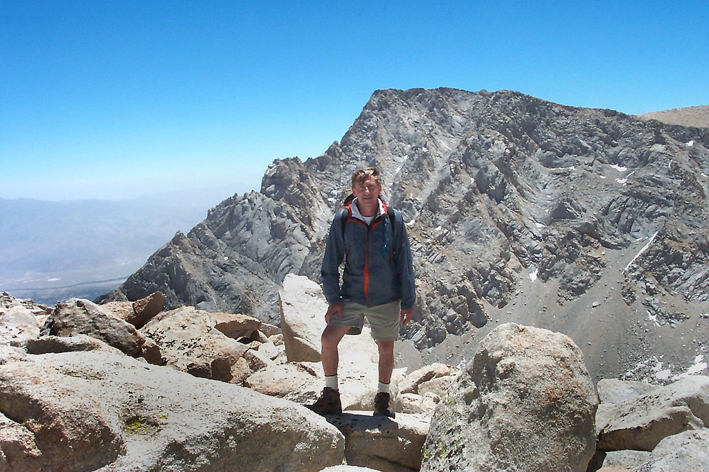 Me with Lone Pine Peak at 12,944 feet to the east.