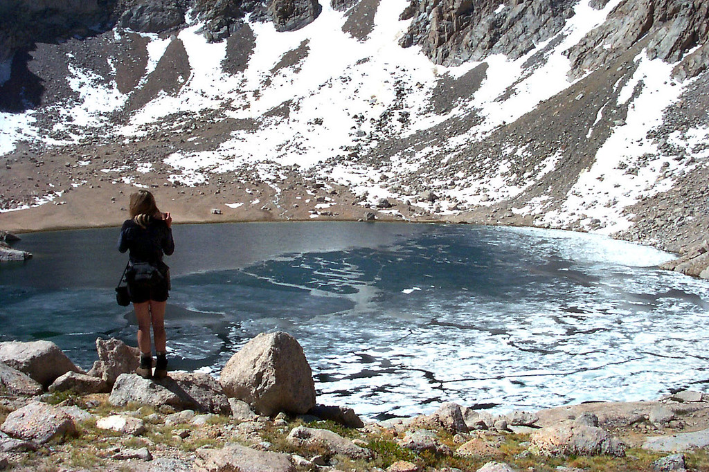 Meysan Lake at 11,450 feet. A large section of the lake was still frozen.