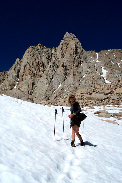 The snow was fairly hard and easy to climb, but was really soft on the way down after being warmed by the sun.