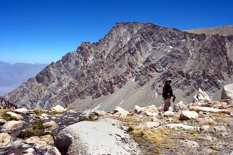 About half way up to the saddle, looking back at Lone Pine Peak at 12,944 feet.