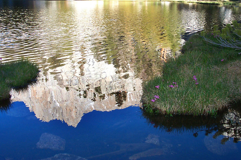 The reflection of Mount Irvine in Grass Lake.