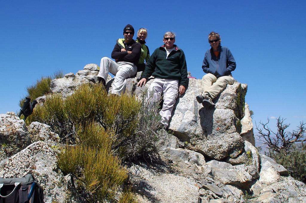 Chip, Sooz, Joe(me) and Robin on Morris Peak at 7,275 feet.