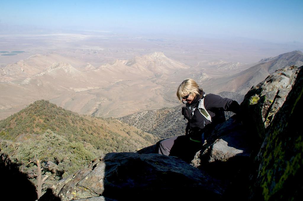Sooz starting the down climb.