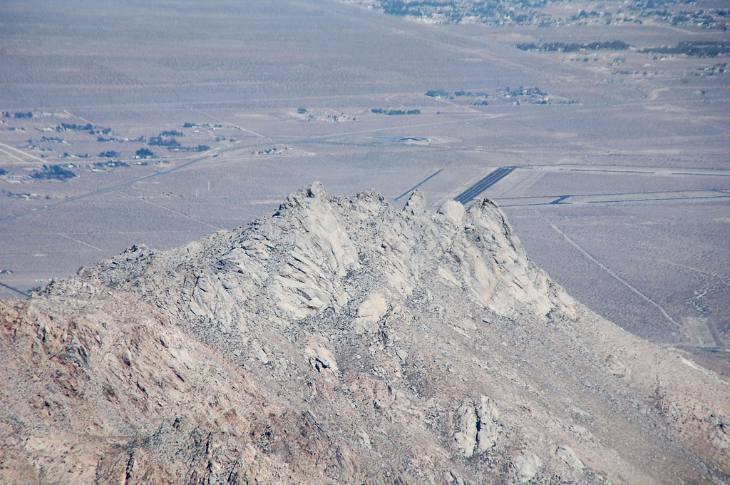 Zoomed in on Five Fingers with part of Kern County Airport showing behind it.