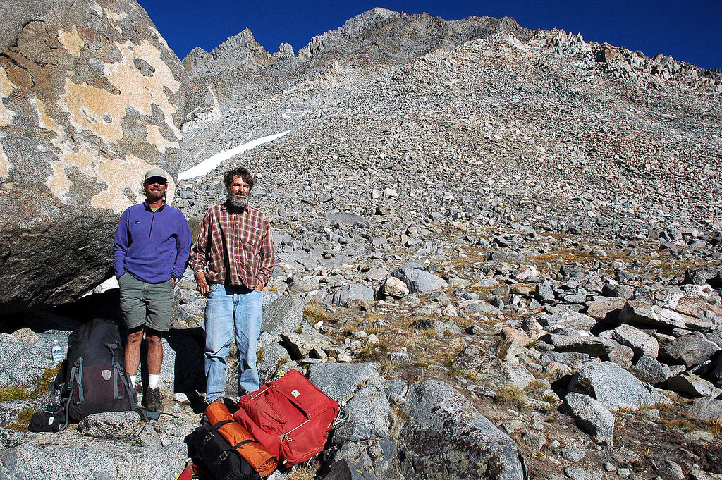 Back at the big rock looking up at Mt Agassiz. Dave and Roy were going to hike into Dusy Basin for the night. It was fun hiking with these local Bishop guys.