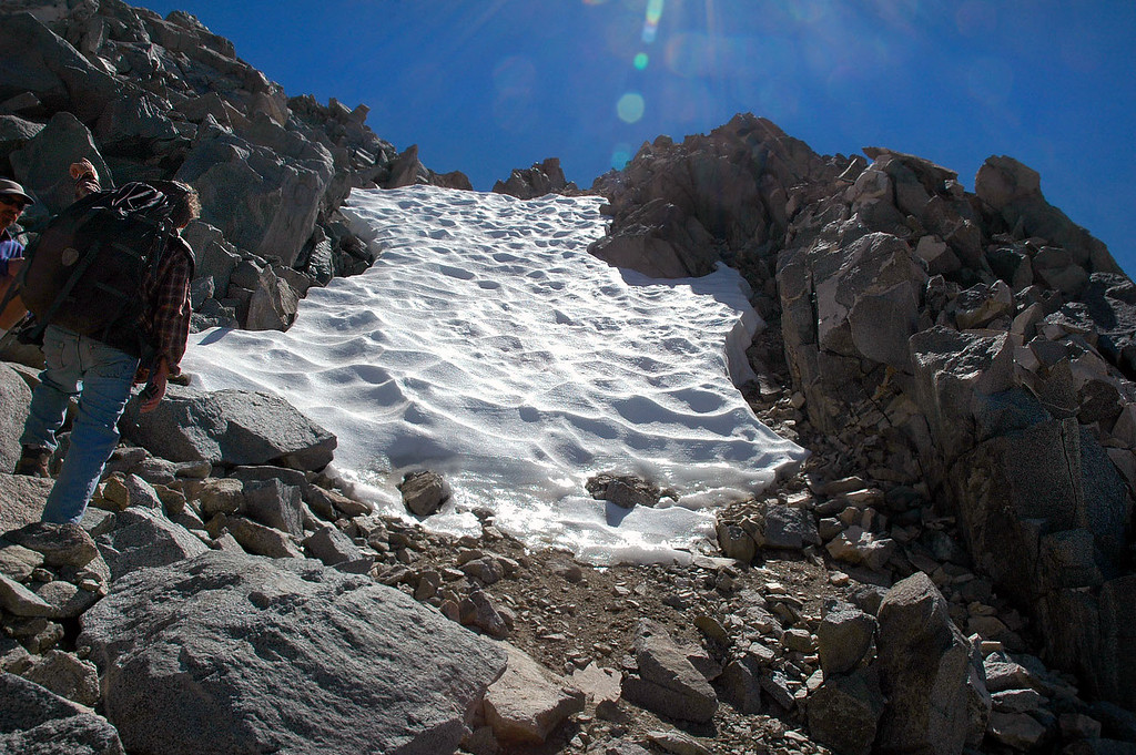 This icy patch of snow was at around 13,000', half way to the peak.