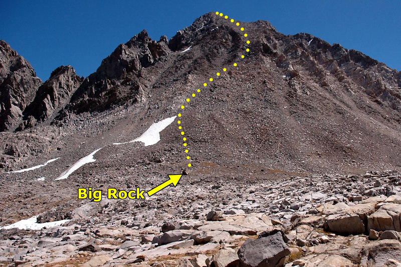 This shot shows the route I'll use to reach the peak.