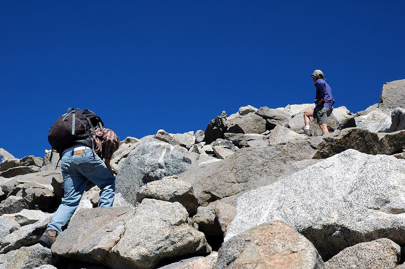 Roy and Dave heading for the summit. You can see the small pile of rocks that mark the peak.