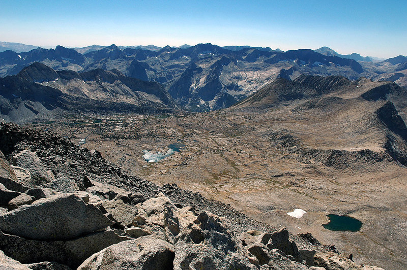 Looking down into Dusy Basin to the southwest. This shot starts a series of photos going clockwise from the summit.